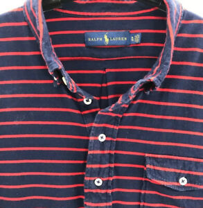 Ralph-Lauren-Mens-Polo-Shirt-Red-Striped-Short-Sleeves-Pocket-Cotton-Vintage-XL