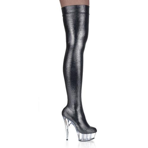 Zapatos Botas negro tacón alto muslo Pleaser DEl16005 número 6 - 37