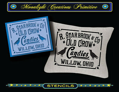 Stencil~Wall Sign~OLD CROW CANDY~Subway Vintage Victorian Art Typography