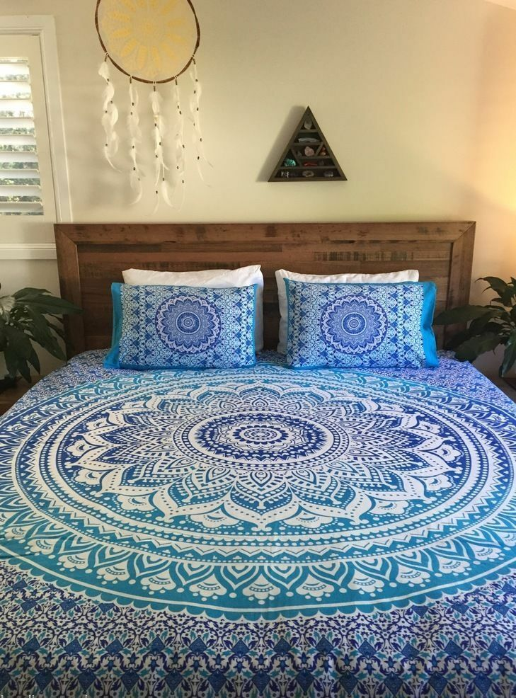 Ombre Mandala Print King Duvet Cover Indian Cotton Quilt With 2 Pillow Covers