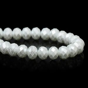 Pearl White Wholesale 8mm Faceted Crystal Glass Beads G3726 - 50, 100 or 200PCs