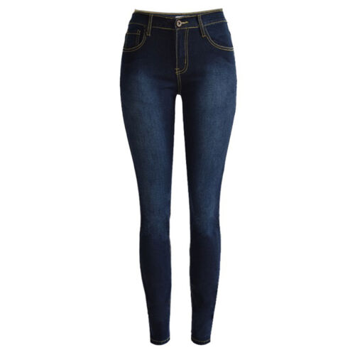 Plus Size High Waist Pencil Ripped Solid Hole Jeans Woman Stretch Skinny Pants