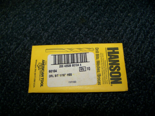 """Hanson 1//16/"""" HSS Drill Bit 50 ea 60104 New"""