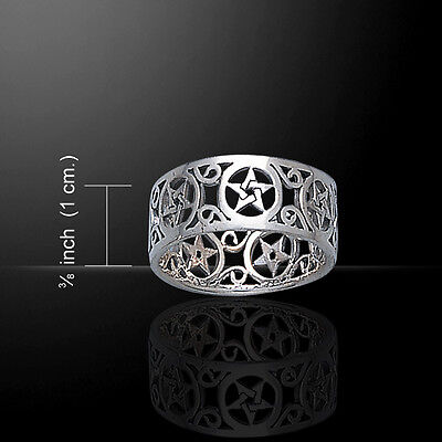 Pentagram Pentacle .925 Sterling Silver Ring by Peter Stone Jewelry