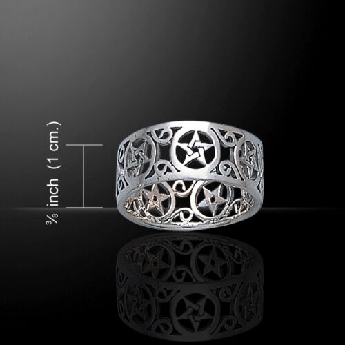 Pentagram Pentacle .925 Sterling Silver Open Band Ring by Peter Stone