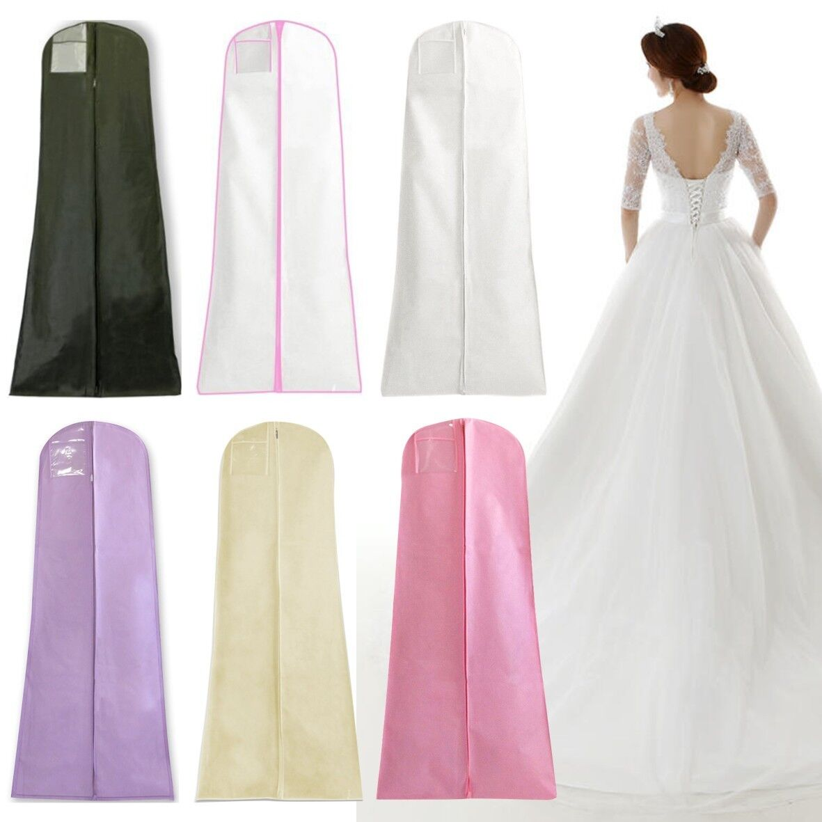 Wedding Gown Preservation Bag: Wedding Dress Storage Bags Long Bridal Gown Garment Cover