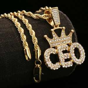 """14K Gold Plated Cz Letter BORN FREE Pendant 24/"""" Rope Chain Hip Hop Necklace"""