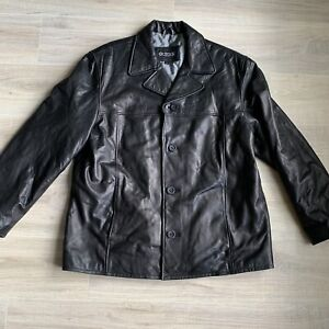 Guess-Mens-Jacket-XL-Black-Leather-Mens-Button-Blazer-Butter-Soft