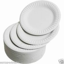 Pack Of 100 White Disposable Paper Plates perfect for BBQ and parties 7/""