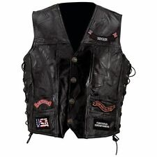 34d4f20f1 Mens Leather Biker Motorcycle Harley Rider Chopper Vest 14 Patches Eagle 5xl
