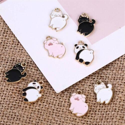 10Pcs//Set Enamel Alloy Cat Pig Panda Charms Pendants DIY Jewelry Findings Crafts