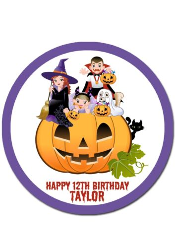 Halloween Themed Round Edible Icing Cake Topper PRE-CUT