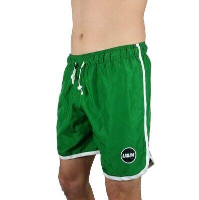 Lab84 Pantaloncini Corti Costume Shorts Da Mare S8 Shm1004basic Verde Bandiera Materiali Di Alta Qualità