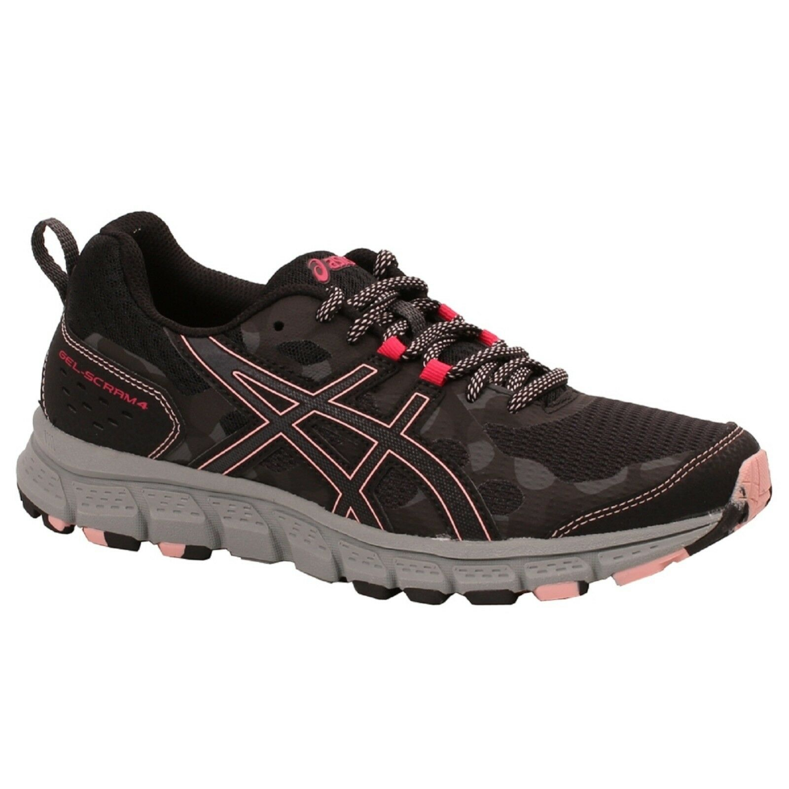 Women's Asics GEL-SCRAM 4 1012A039/001 Black/Grey Lace-Up Running Shoes The latest discount shoes for men and women