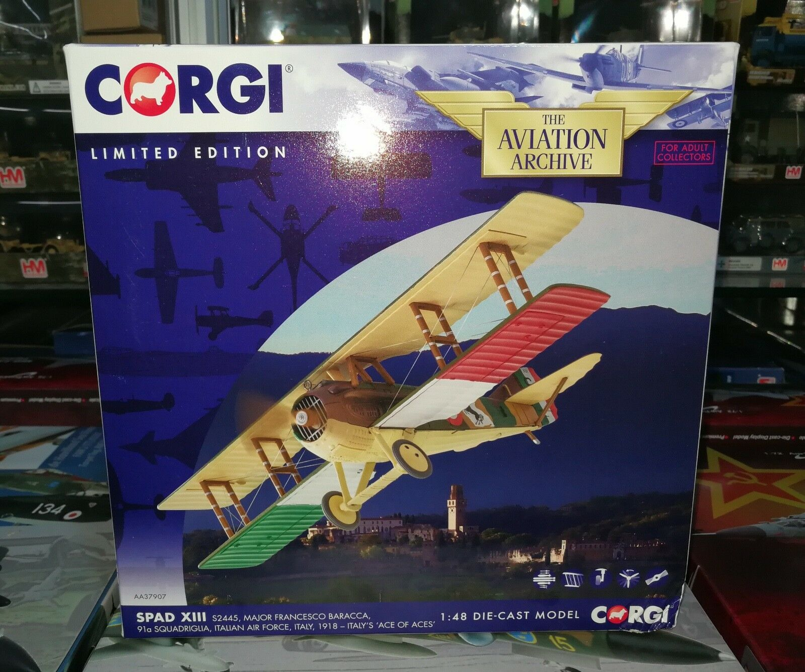 CORGI AA37907 1 48 SPAD XIII S2445 Major Francesco Baracca Italien Force Aérienne NEW IN BOX