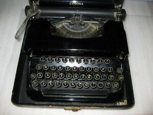 Antique Smith Corona Standard Portable Typewriter with Case Flat Top Black
