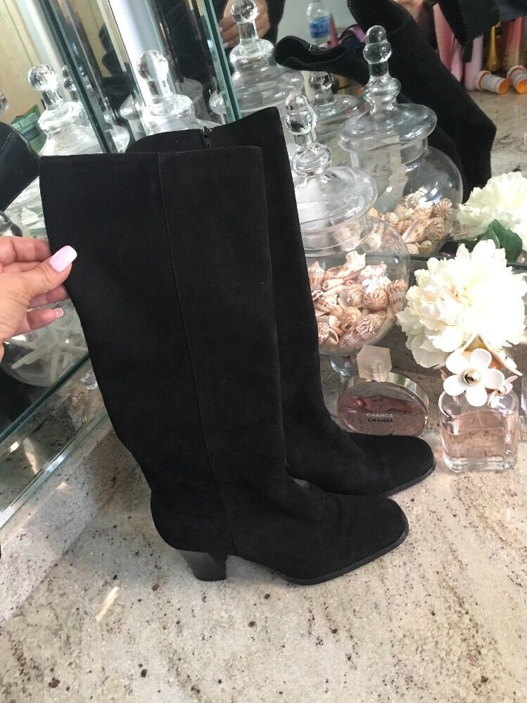 BEAUTIFUL MIMA VENEZIA BOOTS BLK NAPA Suede Knee High SIZE 36 1 2 MADE ITALY