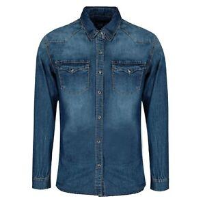 Camicia-Jeans-Uomo-Slim-Fit-Manica-Lunga-Blu-Denim-Casual-S-M-L-XL-XXL