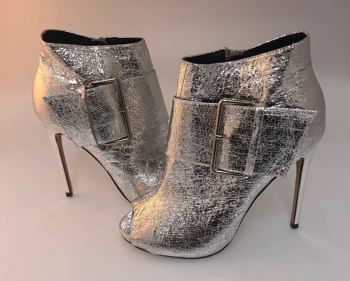 Lauren Lorraine Silver Leather With Buckle Peep Toe Ankle Booties Size 9