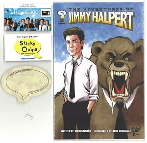"""""""The Office"""" used prop staple + Sticky Quips and Adventures of Jim Halpert comic"""