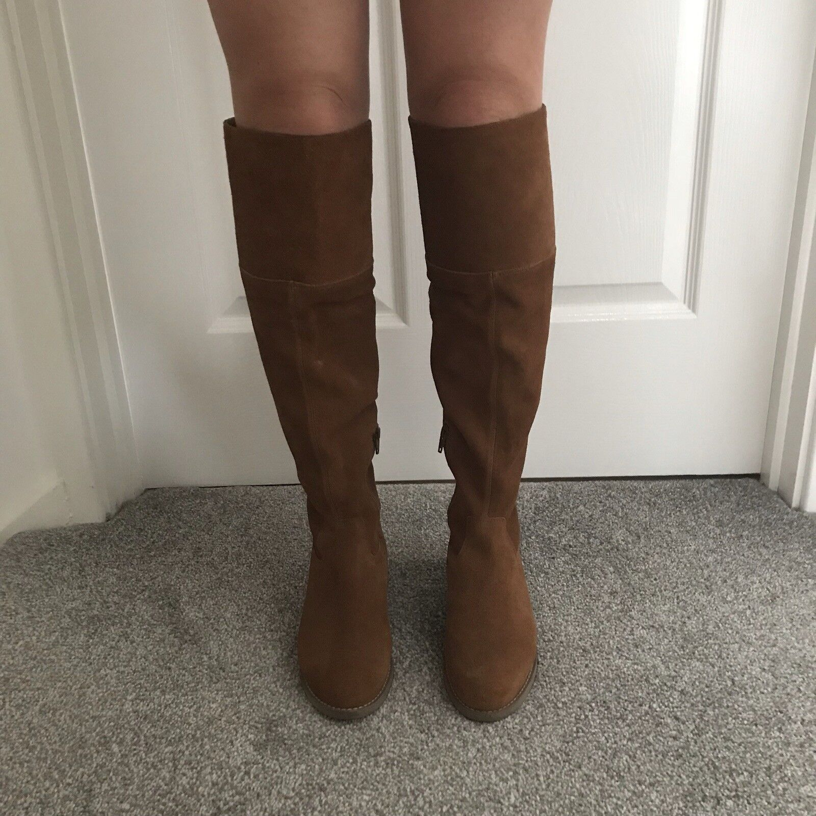 Newlook Knee High Boots Real Suede Tan Size 3