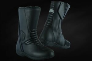 MOTORCYCLE-TOURING-BOOTS-BLACK-LEATHER-WATERPROOF-TOURING-SHOES-RAXID-WOLTEX
