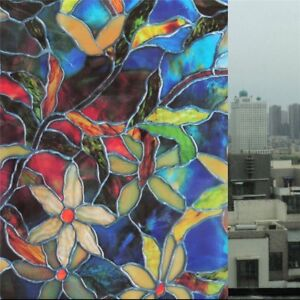 Static Cling Frosted Stained Flower Glass Window Film