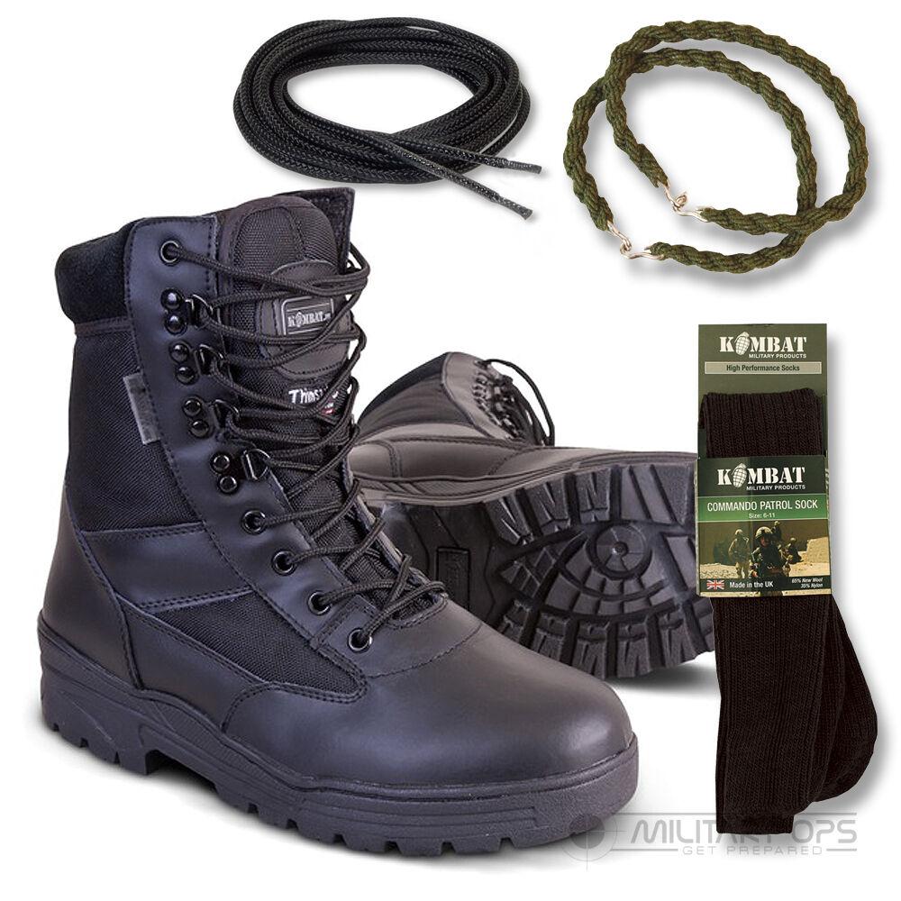Armée Demi Cuir Combat Patrouille Bottes Noir Cadet Neuf Avec Socks Lacets Dread