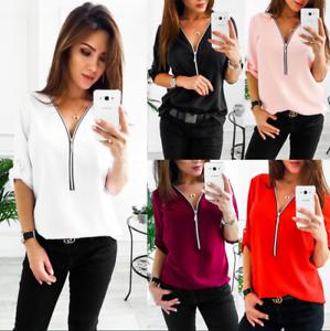 Fashion-Womens-Long-Sleeve-Loose-Blouse-Casual-Shirt-Summer-Chiffon-Tops-T-Shirt