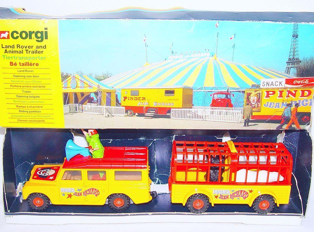 Corgi spielzeug land rover lwb  zirkus jean - richard  + tier trailer nmib ` 79 selten