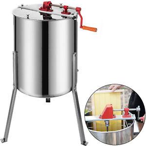 4-Frame-Manual-Honey-Extractor-Stainless-Steel-Honeycomb-Spinner-Beekeeping-CA