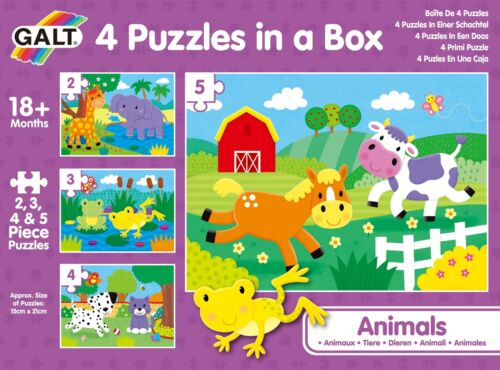 Galt 4 PUZZLES IN A BOX ANIMALS Activity Game Toy BN