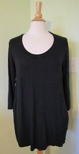 Labo-Art-Made-Italy-black-tunic-top-lagenlook-pockets-SIZE-3-linen-spandex-FLAW