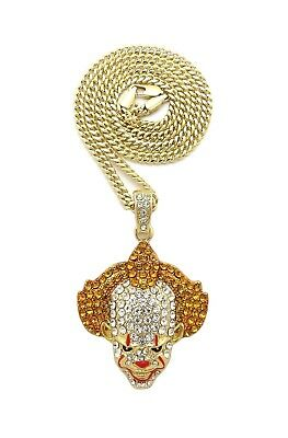 "Rope Cuban Chain Hip Hop Necklace Iced Out Bling Crazy Clown Pendant /& 24/"" Box"