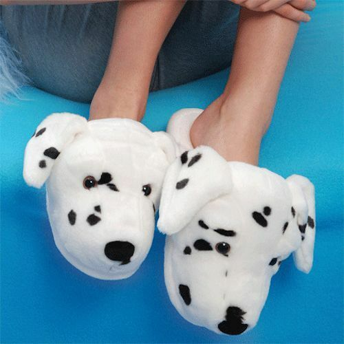 Aroma Home Dog Slippers Dalmatian - Fun For Feet Novelty Plush Slippers: Fit 3-7