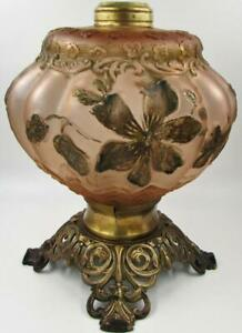 Antique-Pink-Satin-Goofus-Glass-Oil-Kerosene-Composite-Vase-Lamp-Cast-Iron-Base