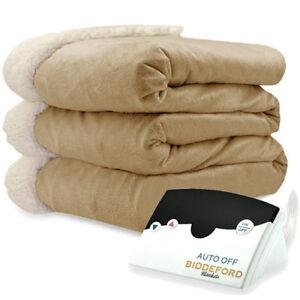 Biddeford 6000-9051136-7<wbr/>13 Micro Mink and Sherpa Heated Blanket Twin Linen