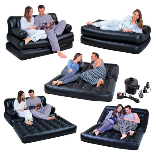 INFLATABLE DOUBLE SOFA MATTRESS LOUNGER COUCH AIRBED FREE ELECTRIC PUMP 5 in 1