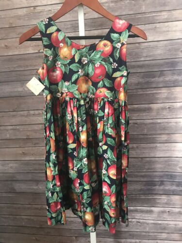 Vintage 90s Kids Dress Apples Handmade Boutique Fl