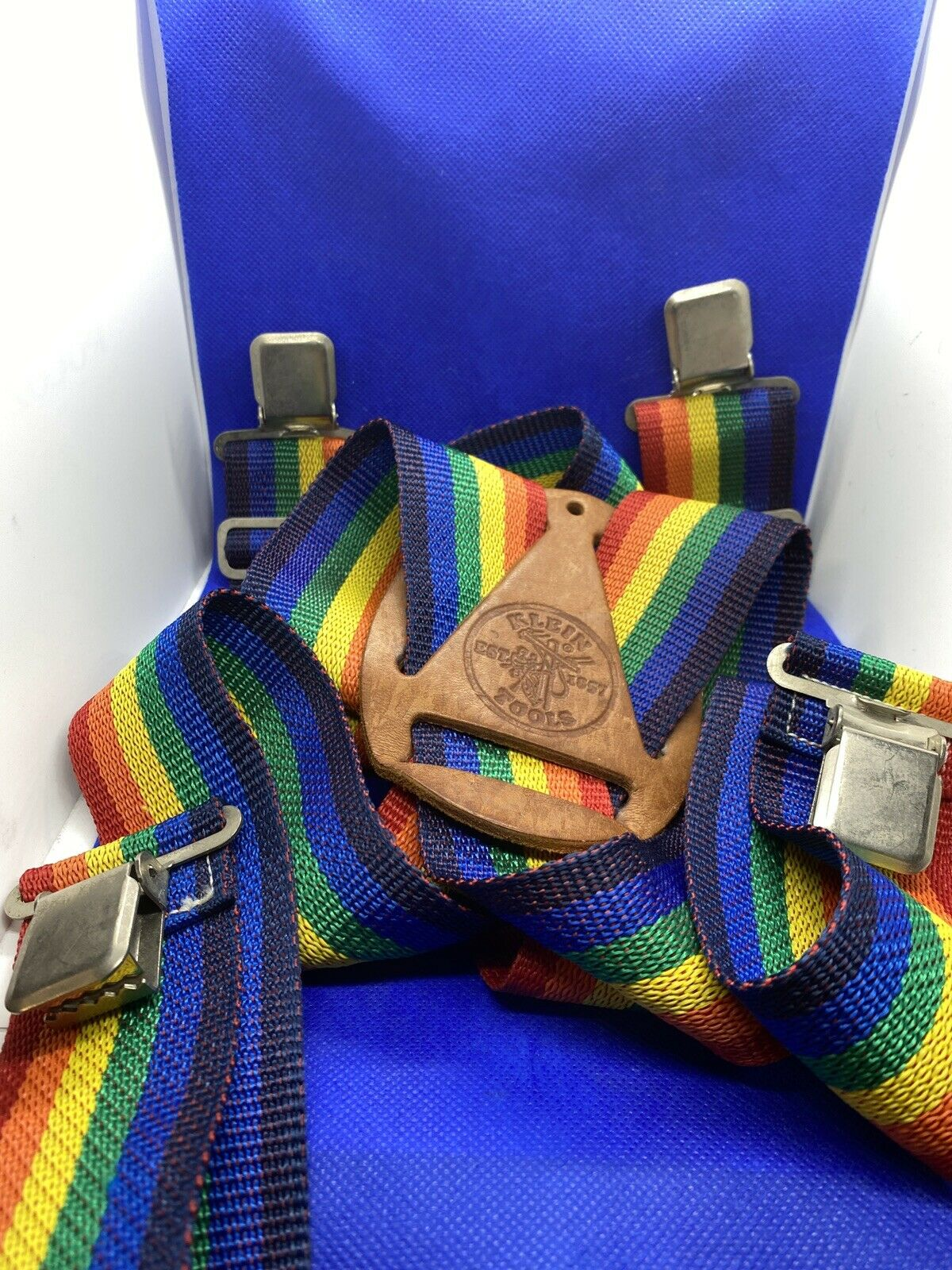 Vintage KLEIN Tools Rainbow Stripe SUSPENDERS Mor… - image 4