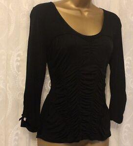 Karen-Millen-Ruch-Drape-Jersey-Stretch-Top-Blouse-Evening-Shirt-Black-10-38