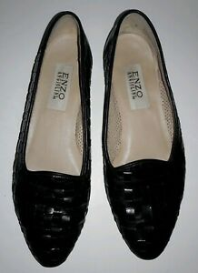 Enzo-Angiolini-Women-s-Loafers-Basket-Weave-Black-Leather-Slip-On-Shoes-Size-9-N