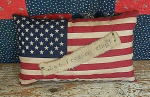 Primitive Flag Pillow Let Freedom Ring Rustic Americana Farmhouse Home Decor Ebay