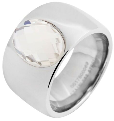 Akzent Damenring Edelstahl Ring Silberfarbig Partnerring Freundschaftsring Stein
