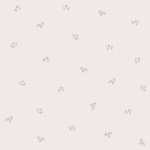 Petit Fleur Small Pink Rose Wallpaper Traditional Flower Design