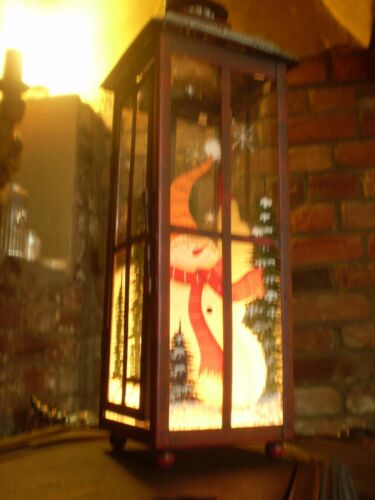Danish Luxury Christmas Snowman hanging Metal /& Glass tea-lite lantern