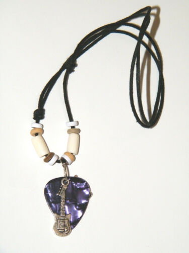 """GUITAR Pick Necklace Purple Silver Musical 8 Note /& Guitar Choker 16/""""-28/"""" NEW!"""