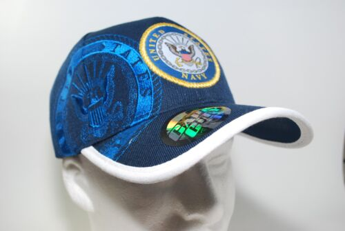 United States NAVY ROUND Emblem Baseball Cap Licensed Patch Hat USN Military NEW