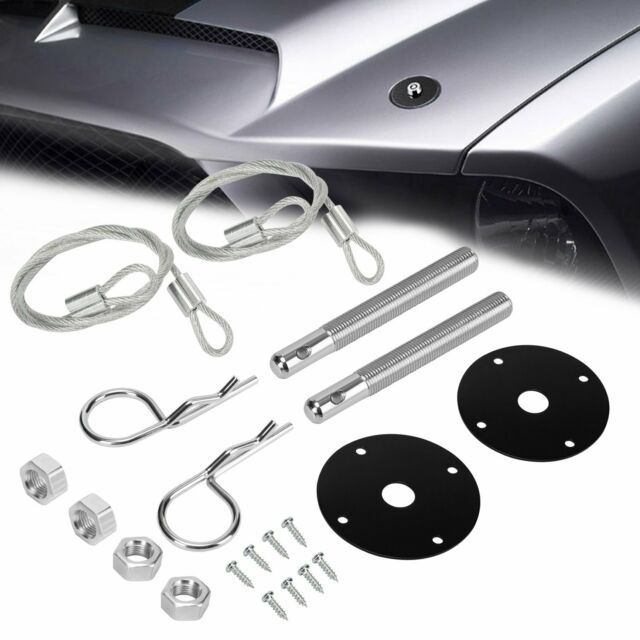 Racing 2 PCS Hood Pin Appearance Kit Universal CNC Billet Aluminum Silver