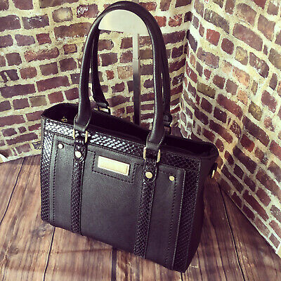 Womens Black Medium Faux Leather Moda Tote Handbag With Free River Island Gift